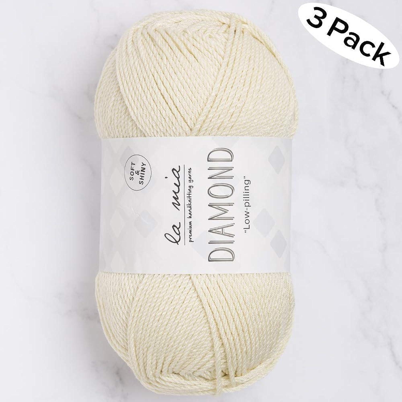 3 Skein La Mia Diamond Total 10.5 Oz Each 3.5 oz (100 g)   229yd (210m), 70% Acrylic 30% Microfiber, Medium, Worsted, Super Soft Yarn, Cream, Perfect for Amigurumi  L075