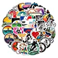50 pcs Mountain Bike Vinyl Stickers Pack Funny Decals for Helmet Cars Bike, Waterproof Mountain Biking Stickers with iBike Outdoors Adventure Hydroflask Stickers for Water Bottle Laptop Scrapbooking