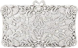 HUIfenghe Diamond Hollow Ladies Dinner Bag Wedding Dress Clutch Bag Holiday Gift Square Metal Chain Shoulder Bag Handbag Wallet 18 * 7 * 11cm (Color : Silver)