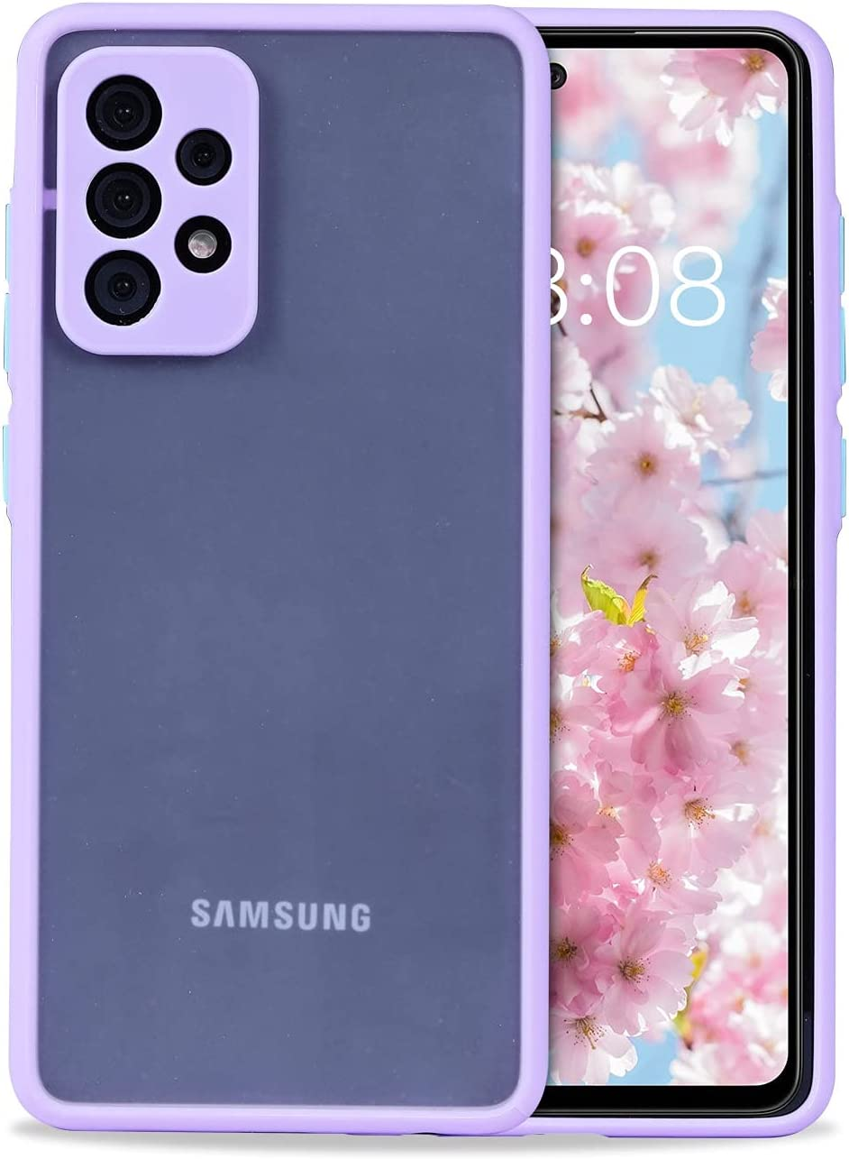 Wkae Colorful Soft TPU Bumper Semi-Transparent cleint Barton Sensation Sand Protection Mobile Phone case for Samsung Galaxy A52 5G (Color : Purple, Size : A52 5G)