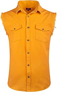 Men's Sleeveless Denim/Cotton Shirt Biker Vest 2 Front Pockets
