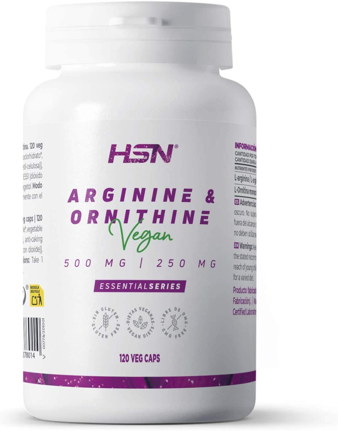 HSN Arginina y Ornitina 500mg / 250mg | Aminoácidos para Masa Muscular, Óxido Nítrico, Vegano, Sin Gluten, Sin Lactosa, 120 Cápsulas Vegetales