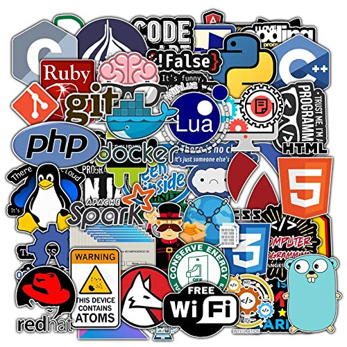 BLOUR 50 Piezas Nuevo Paquete de Pegatinas de programación para el portátil, Nevera, teléfono, monopatín, Maleta de Viaje, Pegatina Impermeable