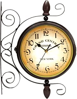 Puto Vintage-inspired Double Sided Wall Clock - Wrought Iron Train Station Style Round Clock With Scroll Wall Side Mount -...