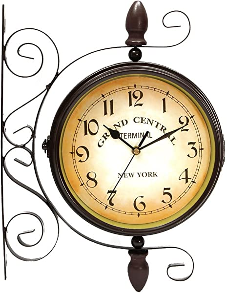 Puto Double Sided Wall Clock Wrought Iron Two Faces Antique Wall Clock Hanging Clock Non Ticking Clock With Mounting Bracket For Indoor D Cor Brown 8 Inches