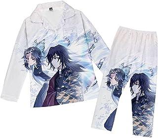 GAMESBD Pajamas Set Kimetsu no Yaiba Tomioka Anime Mens/Womens Demon Slayer 3D Print Long Sleeve Pajamas Casual Soft