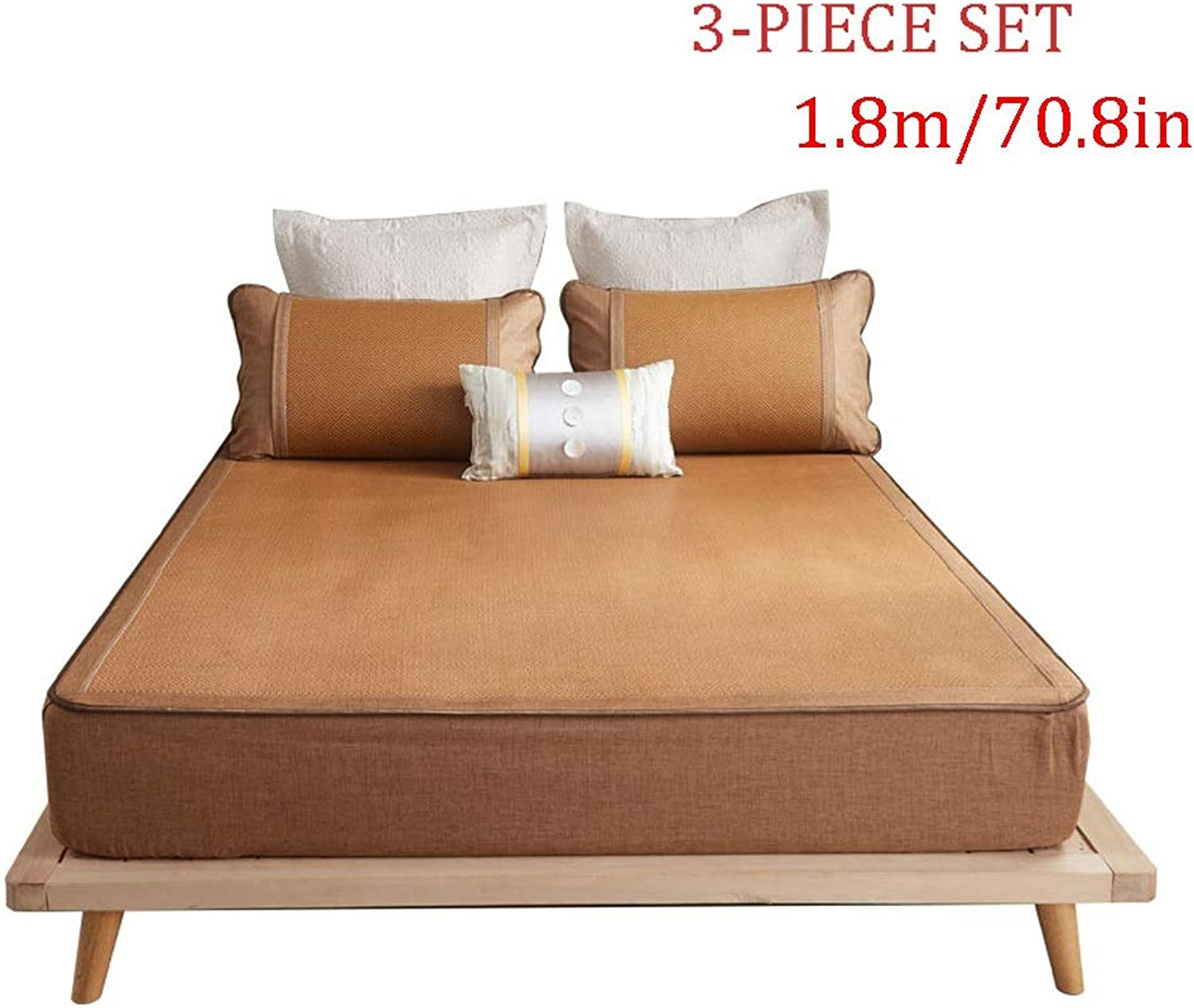 Sleeping Mat - Summer Mattress Ice Silk Mat Three-Piece, Bed Foldable, Rattan Mat 1.8m (6 Feet)