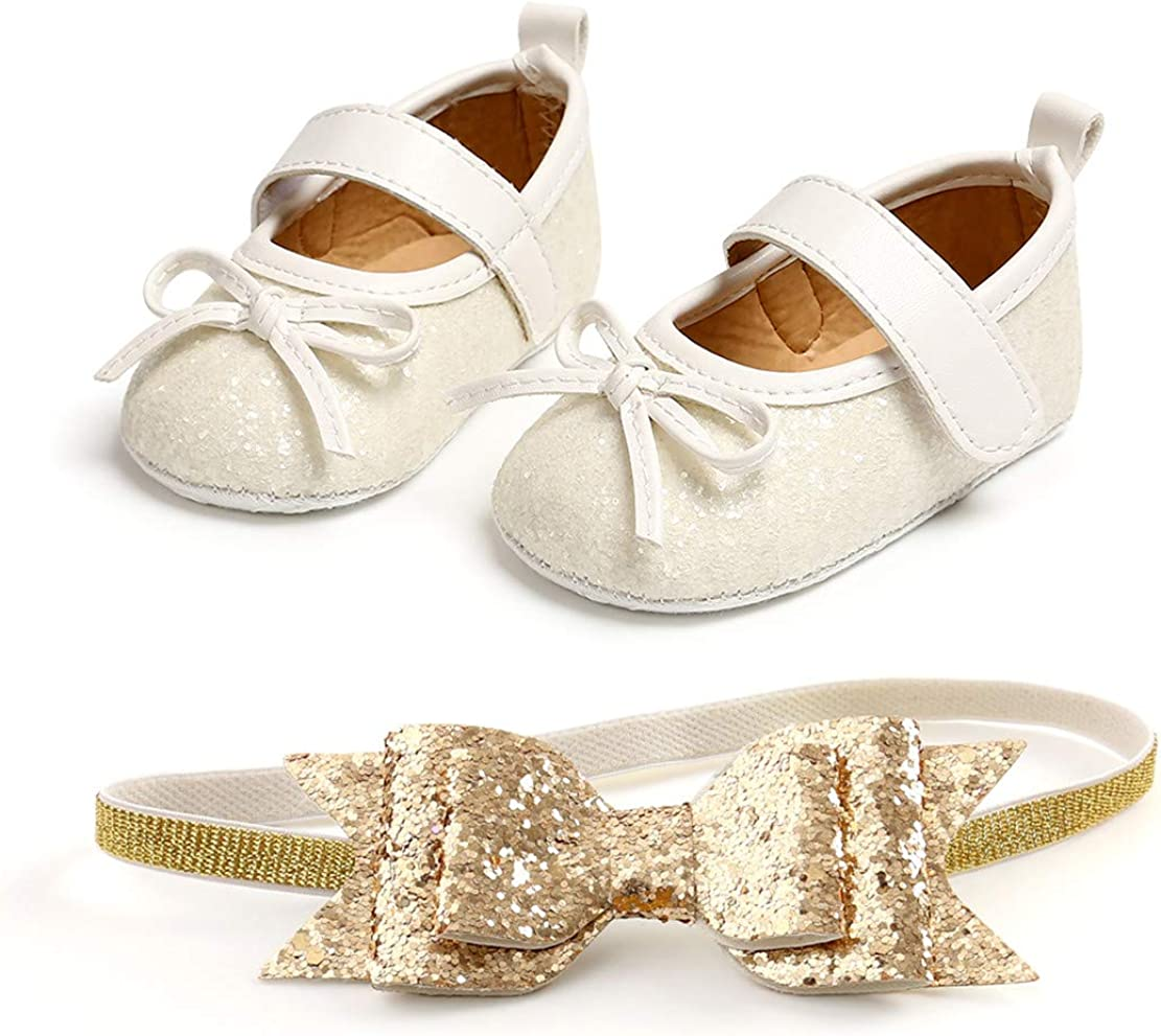 Baby Girls Mary Jane Flats with Headband Gift Set Sparkly Bowknot Princess Dress Shoes Premium Soft Anti-Slip Rubber Sole First Walker Shoes