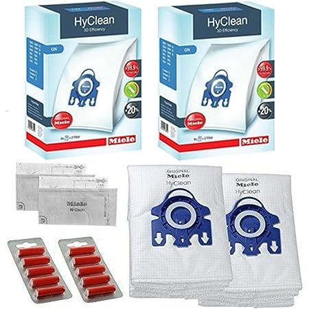Miele GN Vacuum Hoover Bags - Allervac Sensor Solution HEPA Genuine Original Hyclean + Filters (2 Boxes, 10 Air Fresheners)