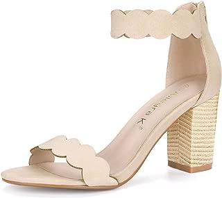 Women's Open Toe Scalloped Block Heel Ankle Strap Sandals