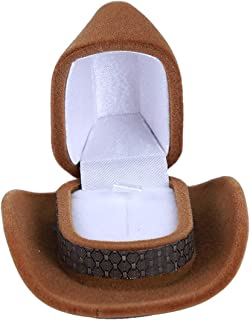 Wyenliz Cowboy Hat Shape Ring Box,Unique Small Velvet Rings Necklaces Display Case for Proposal Engagement Wedding