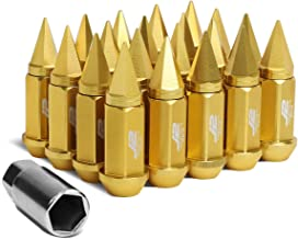 J2 Engineering 7075-T6 Forged Aluminum M12 x 1.5 75mm 20Pcs Spiky Cap Lug Nut + Adapter (Gold)