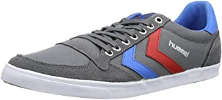 Hummel Slimmer Stadil Lo Canvas Grey Red Blue Mens Trainers Boots