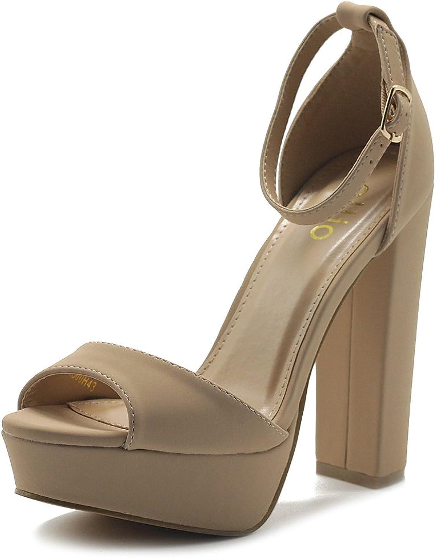 Ollio Woherrar Woherrar Woherrar skor Simple Platform Ankle Strap Chunky hög klacked Sandals  billigt och mode