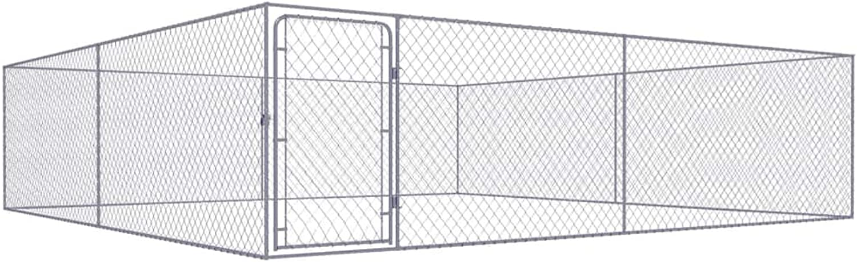 Festnight Outdoor Dog Kennel Galvanised Steel 4x4 m