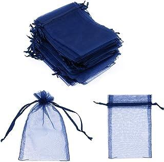 sumdirect 100 10 x 15 cm Sheer Kordelzug Organza Schmuck Beutel Hochzeit Party Weihnachten Favor Geschenk Taschen blau