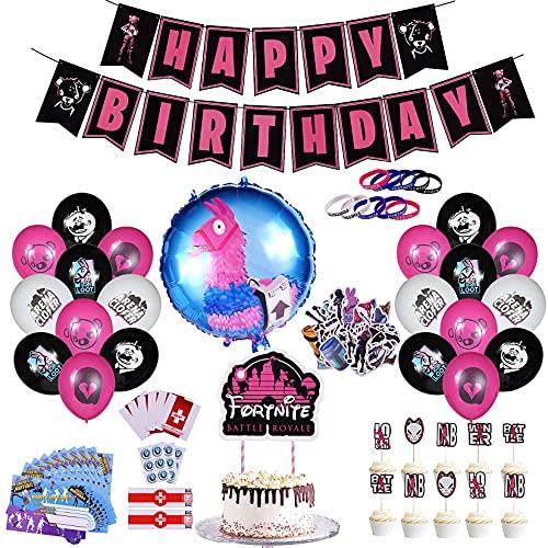 96PCS Globos de cumpleaños para Juegos, Decoracion Cumpleaños de Tema de Videojuegos, Artículos de Fiesta de Cumpleaños, Pancarta Happy Birthday Globos y decoración colgante con Pulseras Pegatinas