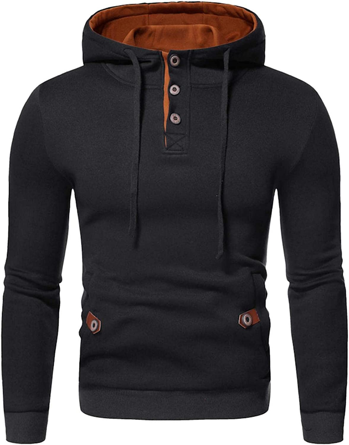 Men's Hoodies Pullover, Mens Autumn Winter Casual Long Sleeve Buttons Collars Cowl Neck Sports Hooded Sweatshirts Pocket