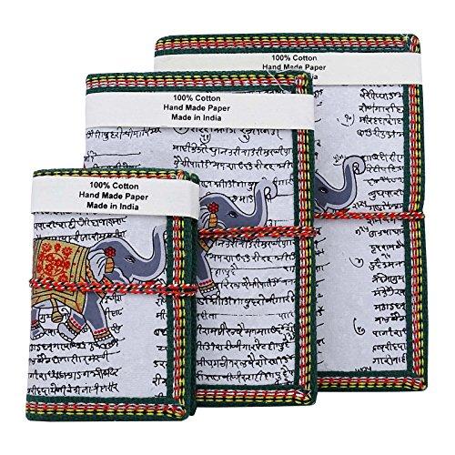 Preisvergleich Produktbild Indianbeautifulart Handgefertigt aus Recyclingpapier Journal Notizbuch Notizbuch-Tagebuch White Cover Lot mit 3 Stück