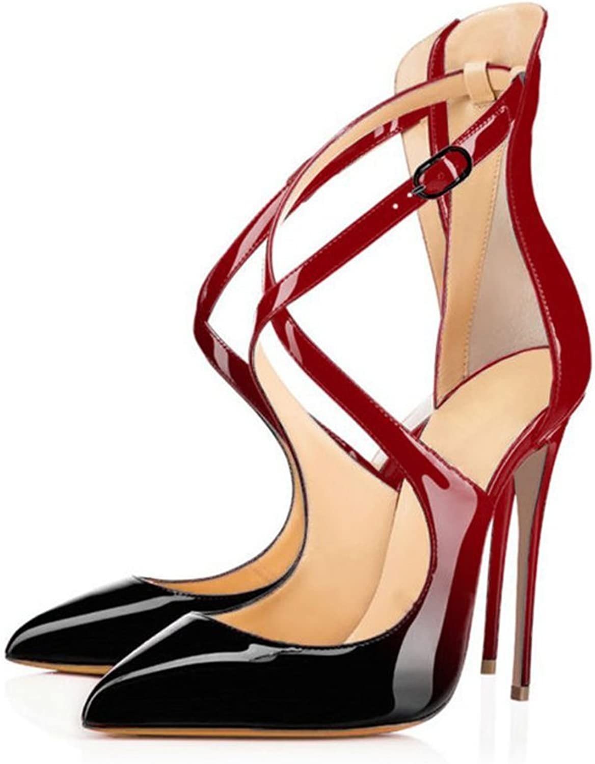 UMEXI Pointed Toe High Heels Ankle Criss Cross Strap Sandals Stiletto Pumps Wedding Party Dress shoes for Women