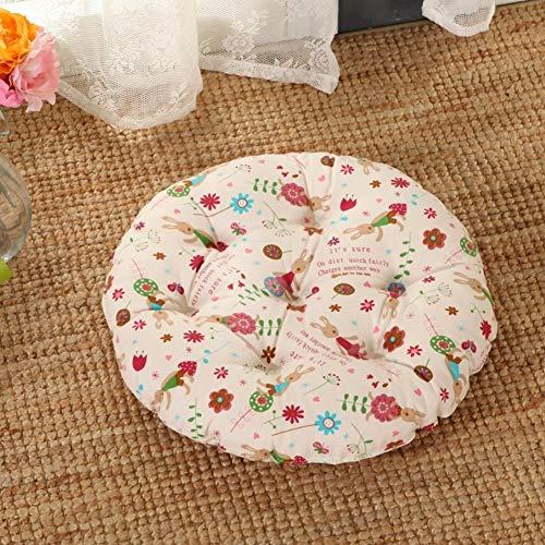 YLCJ Full katoen ronde kussen, rieten stoel padding Schone pastorale dikte Kussenzitting voor bureaustoel Ronde tapijten-K diameter 40cm (16inch)