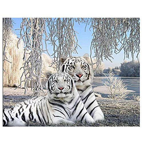 Vcnhln Diamond Embroidery Sale White Tiger Full Diamond Painting Cross Stitch 5D Diamond Mosaic Resin Drill DIY Hobby Factory Direct 50x40cm