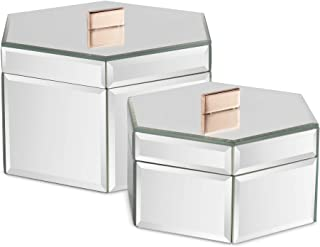 f309f222ed2 Beautify Large Octagon Mirrored Glass Jewelry Box Trinket Boxes Desk  Organizers for Jewelry and Accessories Silver