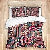 Funda nórdica, Patchwork marroquí, Estampado geométrico Floral, Azulejos marroquíes, árabe Tradicional, tunecino Original, Juego de Cama de Microfibra de Calidad, Ultra suavidad, diseño Moderno