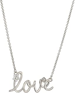"Blue by Betsey Johnson Silver with Crystal and Flower Accented ""LOVE"" Necklace"