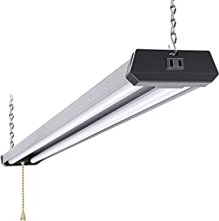 4FT Industrial LED Shop Light, Linkable Utility Shop Lights, 42W, 5000K Daylight White for Garages, Workshops, Basements, Hanging or FlushMount, with Power Cord and Pull Chain, ETL - 1 Pack