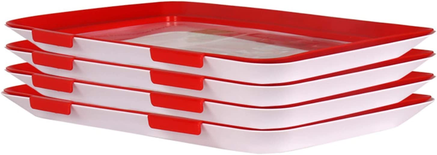 Food Preservation Tray Creative Food Storage Containers Kitchen Gadgets Reusable & Stackable Suitable for beef,vegetables,fruits, Party,Barbecue,Picnic,4 pieces