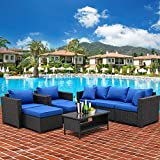 6 Pieces Patio Wicker Furniture Set Piece Outdoor PE Rattan Conversation Couch Sectional Chair Sofa Set with Royal Blue Cushion