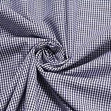 Stoff am Stück Stoff Baumwolle Vichy Karo klein dunkelblau