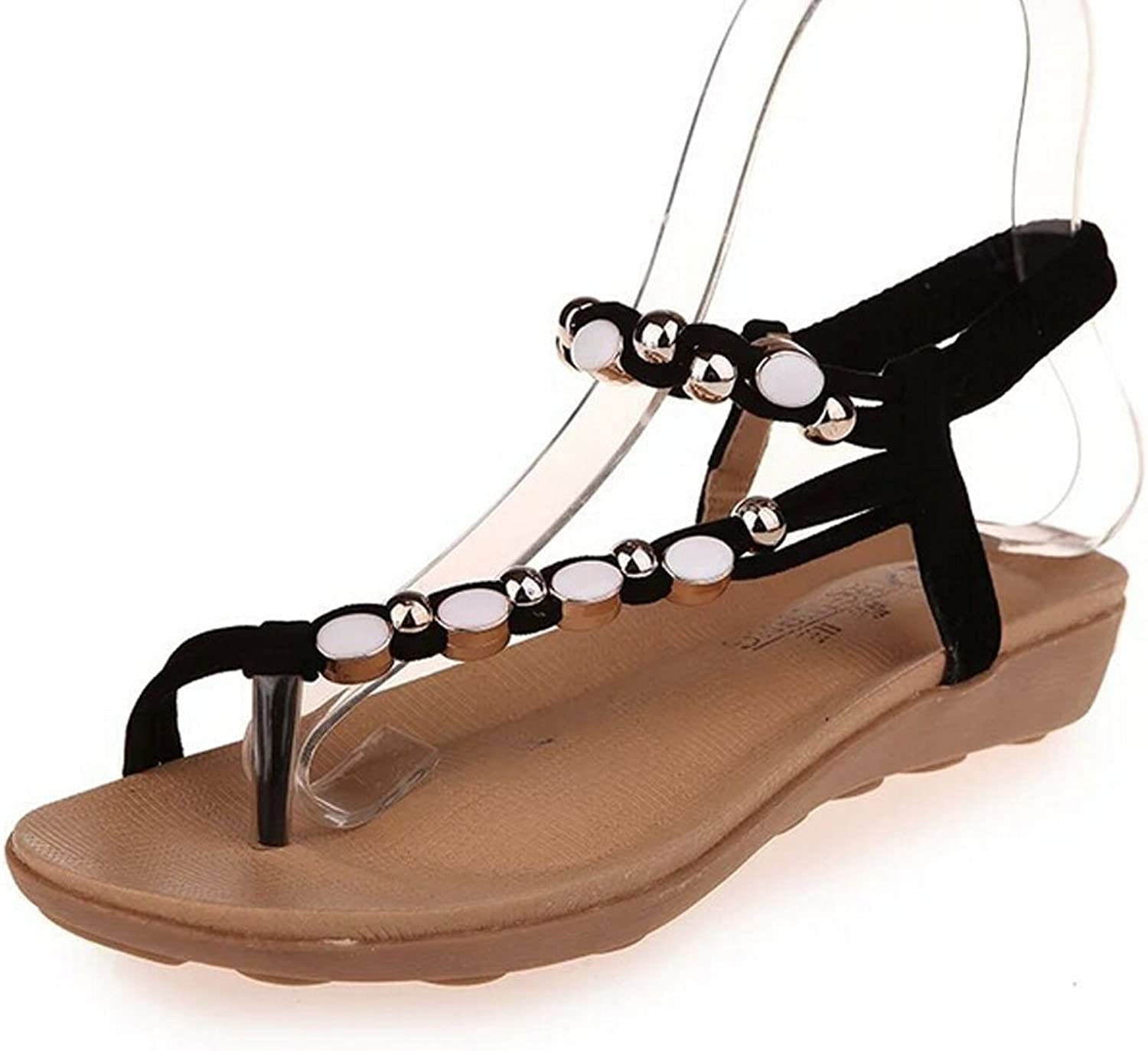 San hojas Flat Sandals with Rhinestone Summer Beach shoes Flip Sandals Black