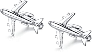 Honey Bear Cufflinks for Mens - Shirts Airplane Plane Plan Stainless Steel Gift with Box, Silver