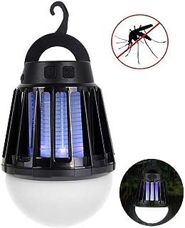 電撃殺虫器 LEDランタン TopYart 蚊取りと照明両用 USB充電式 IPX6 防水機能 屋外室内適用 (ブラック)