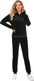Women's Sweatsuit Set Velour Long Sleeve Hoodie and Pants Sport Sweat Suits 2 Piece Tracksuits Outfits S-XXXL