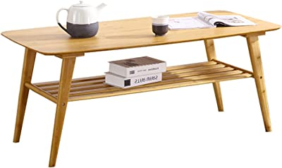 Side Table Natural Bamboo Coffee Center Table Double Layer Coffee Table End Table Living Room Side Table Under Rack Storage Decorative Furniture Sofa Table (Color : Natural)