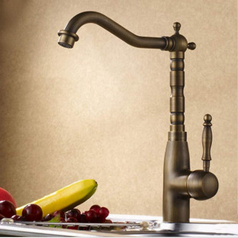 FZHLR Antique Faucet Antique Brass Sink Mixer Tap Kitchen Faucet 360 Degree Swivel Cold Hot Water Tap