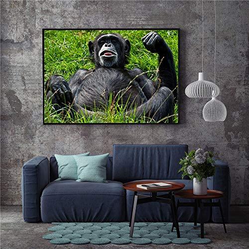 KWzEQ Leinwanddrucke Niedlicher AFFE Wandkunst Bild Wohnkultur für Wohnzimmer Poster70x105cmRahmenlose Malerei