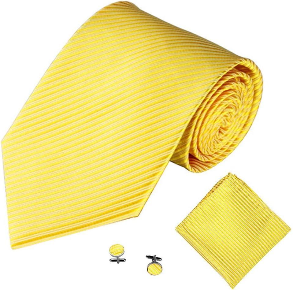 JIEIIFAFH Fashion New Classic Striped Tie Men's Business Tie Pocket Square Towel Handkerchief Cufflinks Set (Color : Medium)