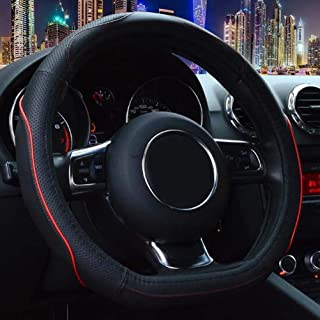 Flat Bottom Steering Wheel Cover - Black Red Line Sport Genuine Leather D Shaped D Cut for Women Men Universal 15 inch Breathable Massage Better Grip 106D Red