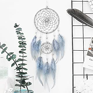 VesipaFly Dream Catcher, Handmade Circular Net Catchers, Feathers Wall Hanging Decoration Craft for Bedroom, Girls Gifts (Grey-Blue)