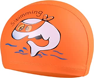 Ganghuo Bonnet de bain pour enfants avec imprimé dessin animé, flexible, étanche, confortable pour filles et garçons, desi...