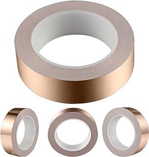 Geepro Cinta de Foil de Cobre con Adhesivo Conductivo 1.2inch X 28yards - EMI Shielding Conductive Adhesive for Stained Glass, Circuitos de Papel, Reparaciones Eléctricas (0.06mm Thickness)