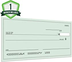 Pixelverse Design - Giant Award Presentation Check - 16x32 Inches - Large Novelty Check for Endowment, Donations, Fundraiser - Big Oversized Raffle Reward Winners Check (Green)