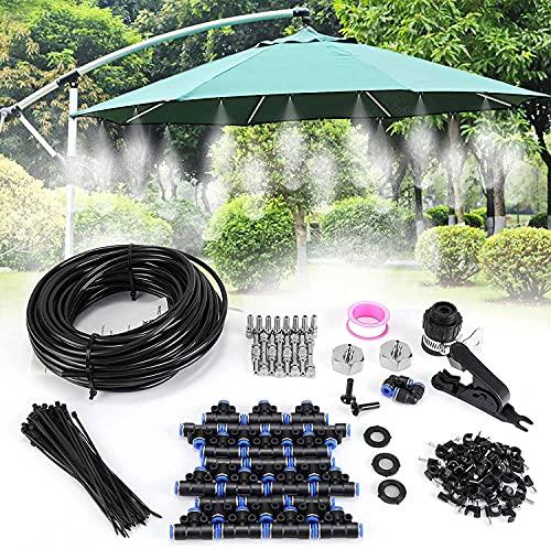 Fixget Nebulizzatore Giardino, Kit Nebulizzazione Acqua con 20m Tubo Lungo, Microugelli per Serra Esterno Trampolino, Sistema Irrigazione Automatica Goccia per Gazebo