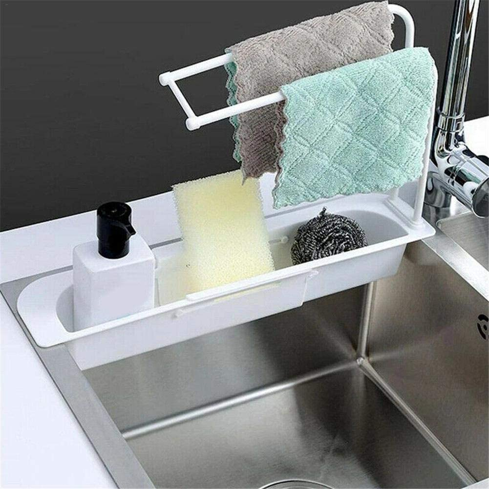 Organizador de fregadero soporte de fregadero telesc/ópico estante de cesta de drenaje de almacenamiento de fregadero expandible bandeja de fregadero de escurridor de soporte de jab/ón