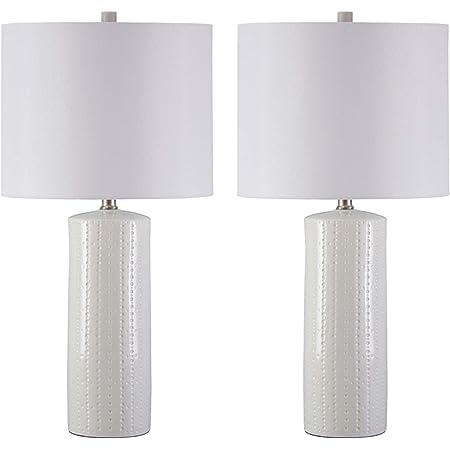 Amazon Com Signature Design By Ashley Steuben Textured Ceramic Table Lamp Drum Shades Set Of 2 Solid White Home Improvement