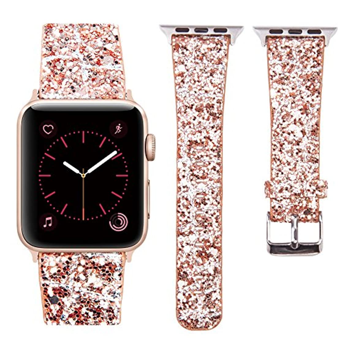 MIFFO Compatible with Apple Watch Band 38mm 40mm 42mm 44mm, 3D Glitter Bling Leather Wristband iWatch Strap Replacement for Apple Watch Series 4 Series 3 Series 2 Series 1